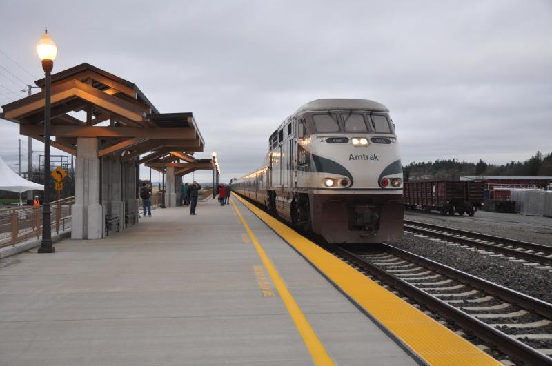 Amtrak Cascades train at Stanwood Station, Washington